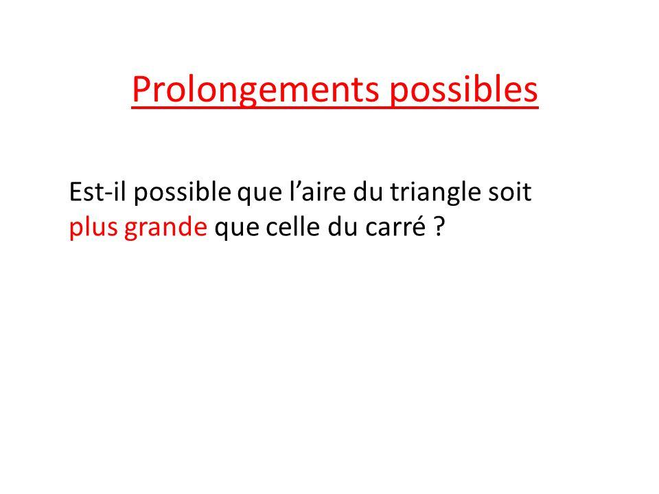 Prolongements possibles Est-il possible que laire du triangle soit plus grande que celle du carré ?
