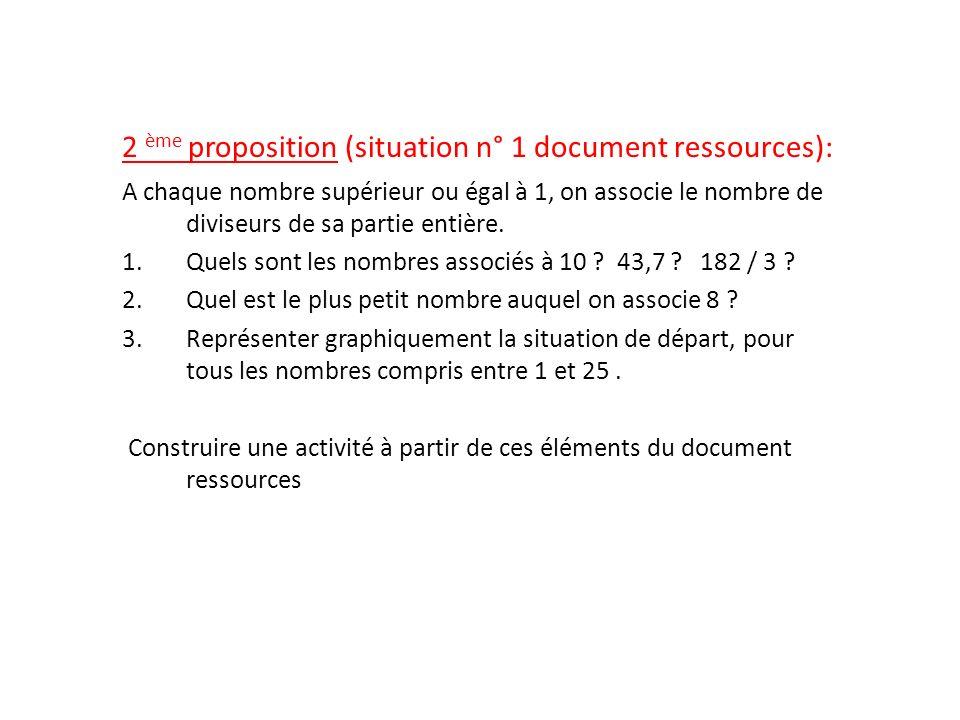 2 ème proposition (situation n° 1 document ressources): A chaque nombre supérieur ou égal à 1, on associe le nombre de diviseurs de sa partie entière.