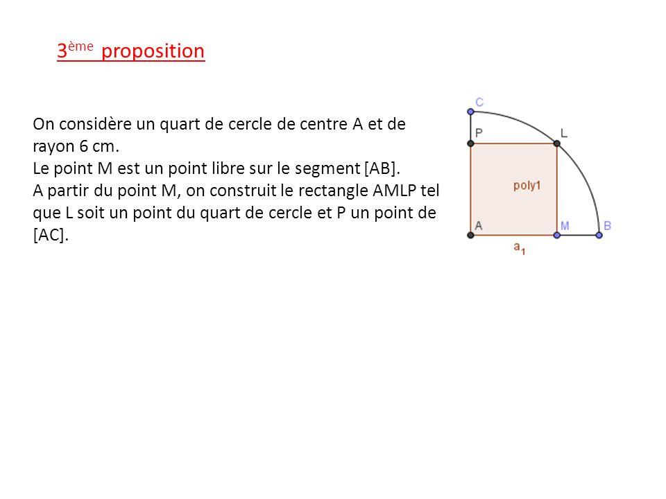 3 ème proposition On considère un quart de cercle de centre A et de rayon 6 cm. Le point M est un point libre sur le segment [AB]. A partir du point M