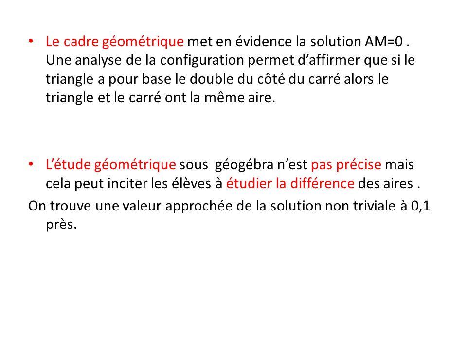 Le cadre géométrique met en évidence la solution AM=0. Une analyse de la configuration permet daffirmer que si le triangle a pour base le double du cô
