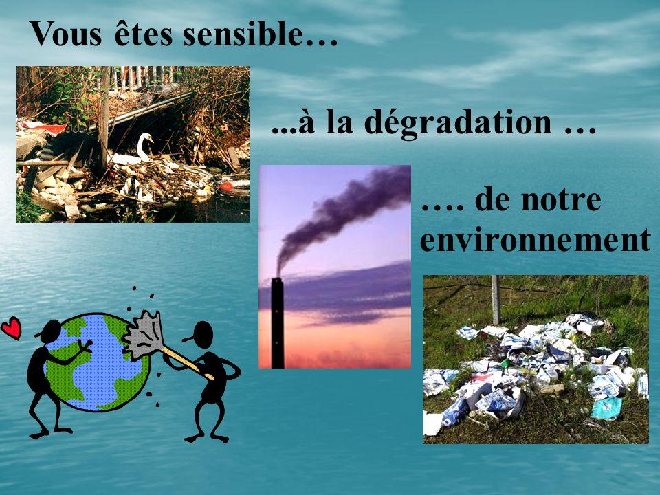 Vous êtes sensible…...à la dégradation … …. de notre environnement