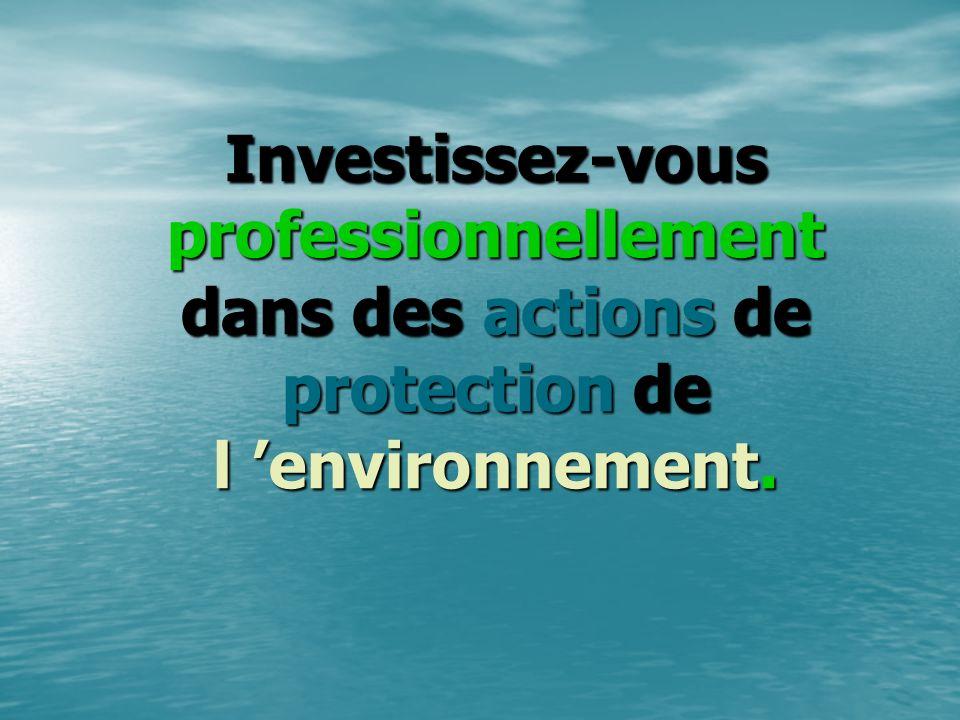 Investissez-vous professionnellement dans des actions actions de protection protection de l environnement.