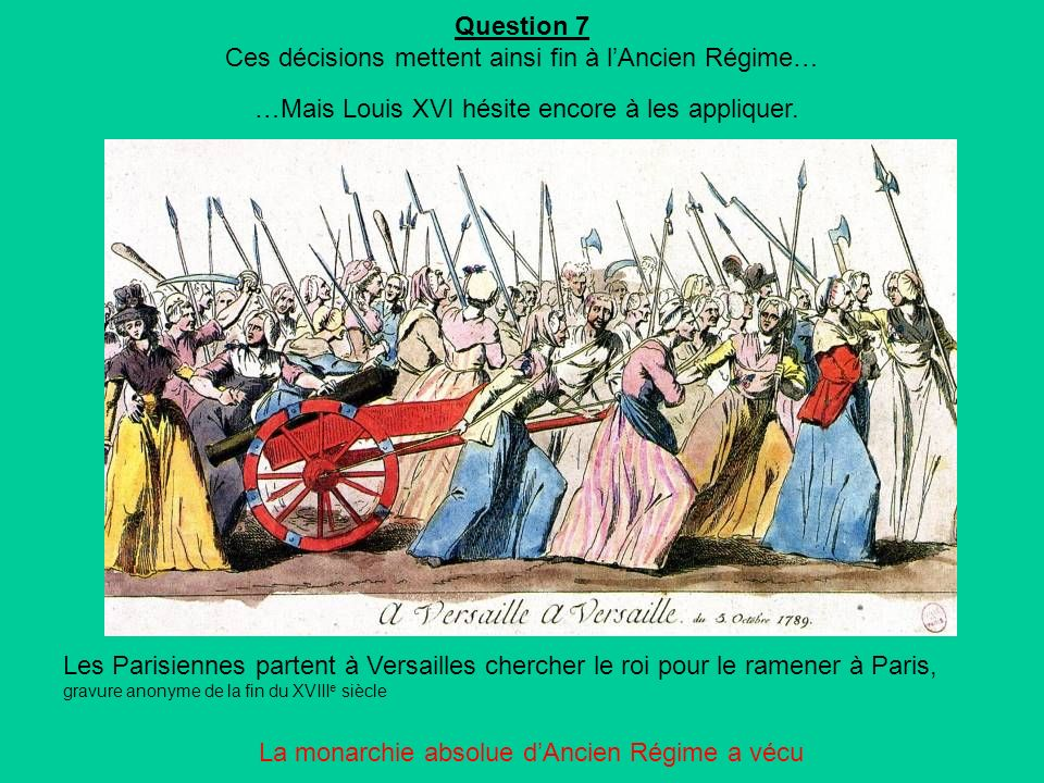 Question 7 Ces décisions mettent ainsi fin à lAncien Régime… …Mais Louis XVI hésite encore à les appliquer.
