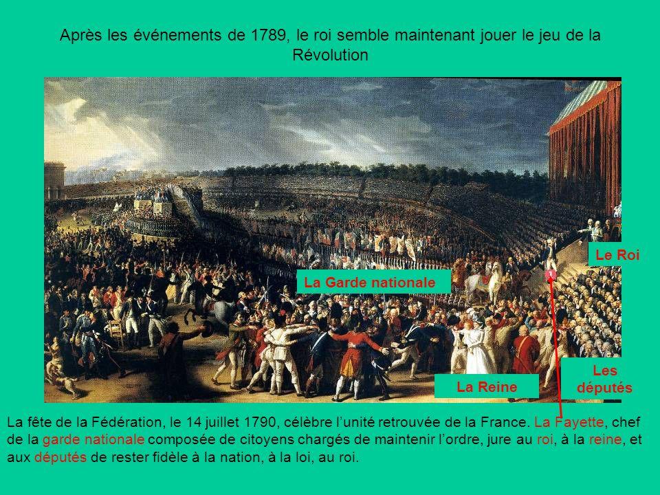 Après les événements de 1789, le roi semble maintenant jouer le jeu de la Révolution La fête de la Fédération, le 14 juillet 1790, célèbre lunité retrouvée de la France.