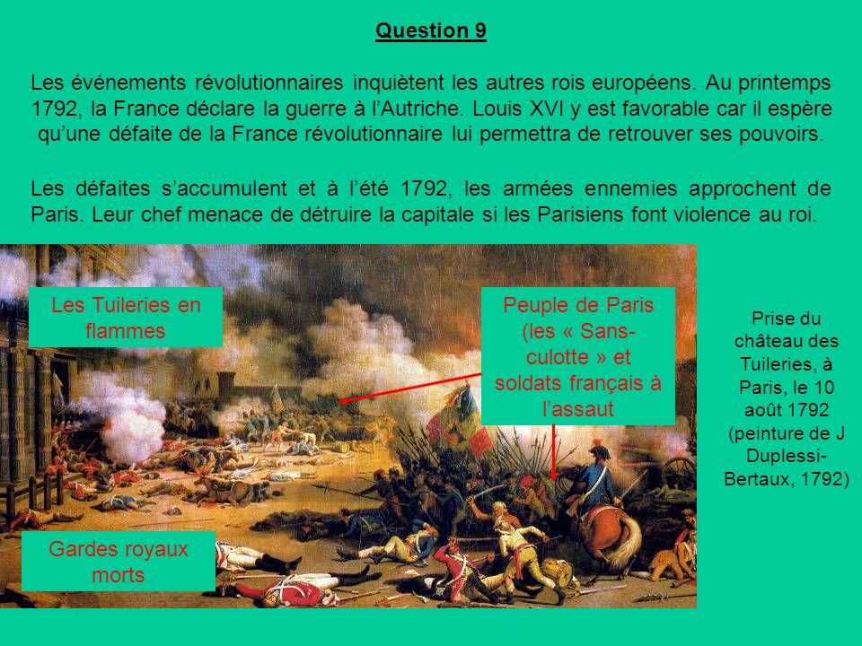 Question 9 Les événements révolutionnaires inquiètent les autres rois européens.