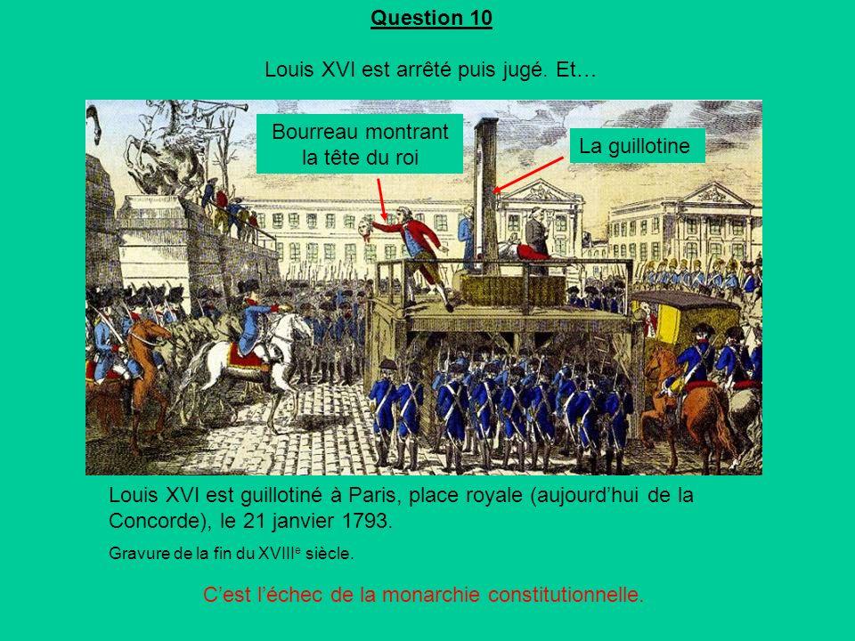 Question 10 Louis XVI est arrêté puis jugé.Et… Cest léchec de la monarchie constitutionnelle.