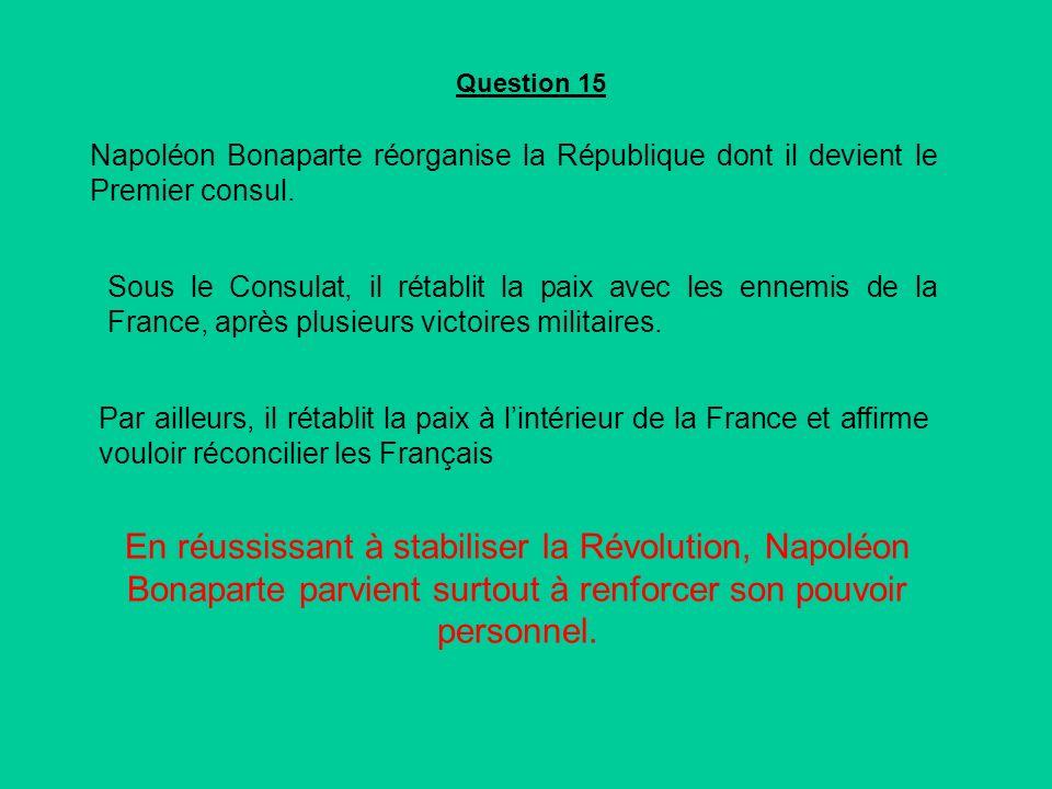 En réussissant à stabiliser la Révolution, Napoléon Bonaparte parvient surtout à renforcer son pouvoir personnel.