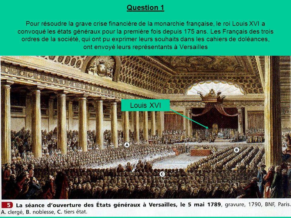 Question 1 Pour résoudre la grave crise financière de la monarchie française, le roi Louis XVI a convoqué les états généraux pour la première fois depuis 175 ans.