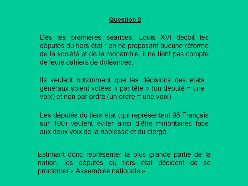 Dès les premières séances, Louis XVI déçoit les députés du tiers état : en ne proposant aucune réforme de la société et de la monarchie, il ne tient pas compte de leurs cahiers de doléances.