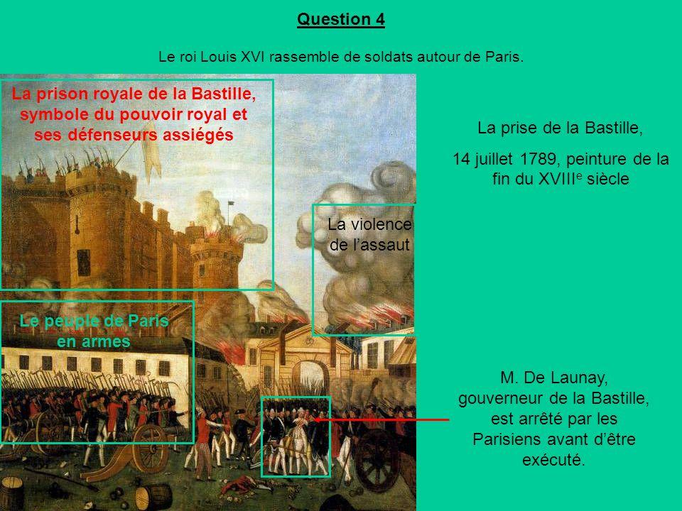 Question 4 Le roi Louis XVI rassemble de soldats autour de Paris.