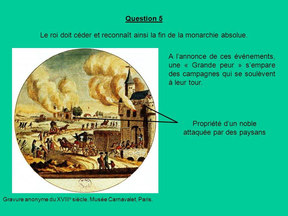 Question 5 Le roi doit céder et reconnaît ainsi la fin de la monarchie absolue.