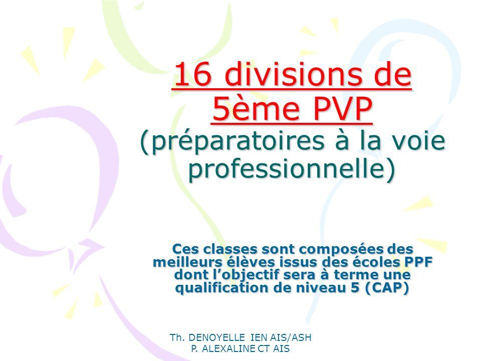 Th. DENOYELLE IEN AIS/ASH P. ALEXALINE CT AIS 16 divisions de 5ème PVP (préparatoires à la voie professionnelle) Ces classes sont composées des meille
