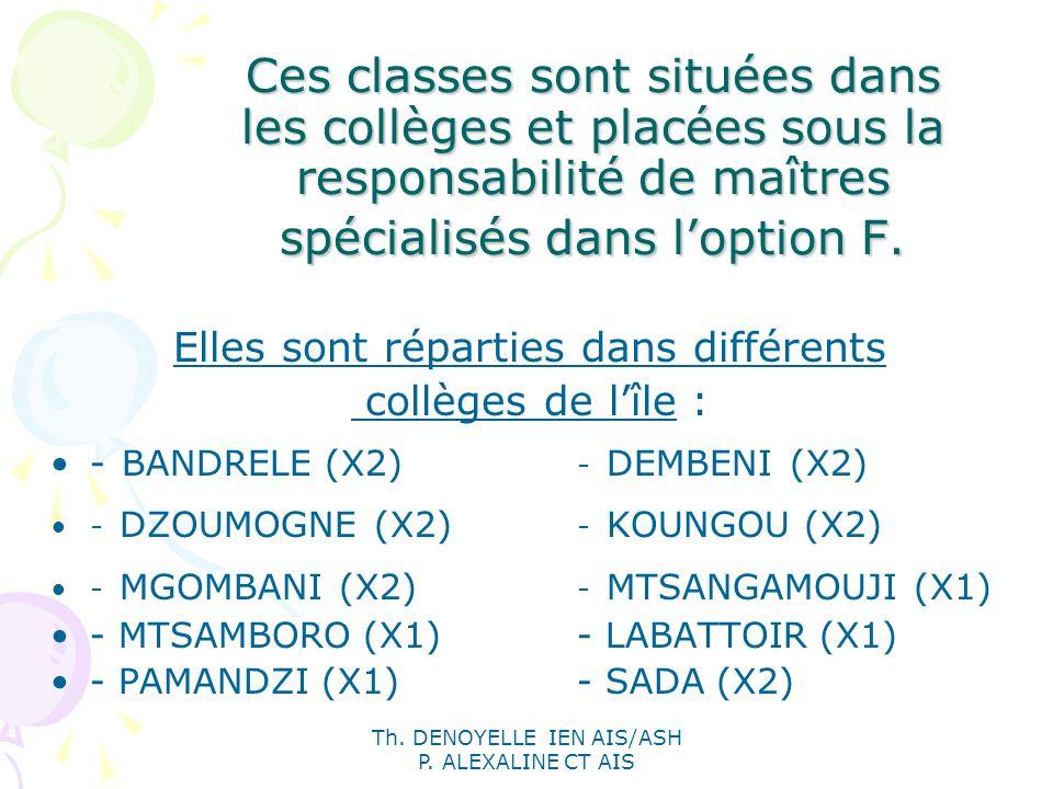 Th. DENOYELLE IEN AIS/ASH P. ALEXALINE CT AIS Ces classes sont situées dans les collèges et placées sous la responsabilité de maîtres spécialisés dans