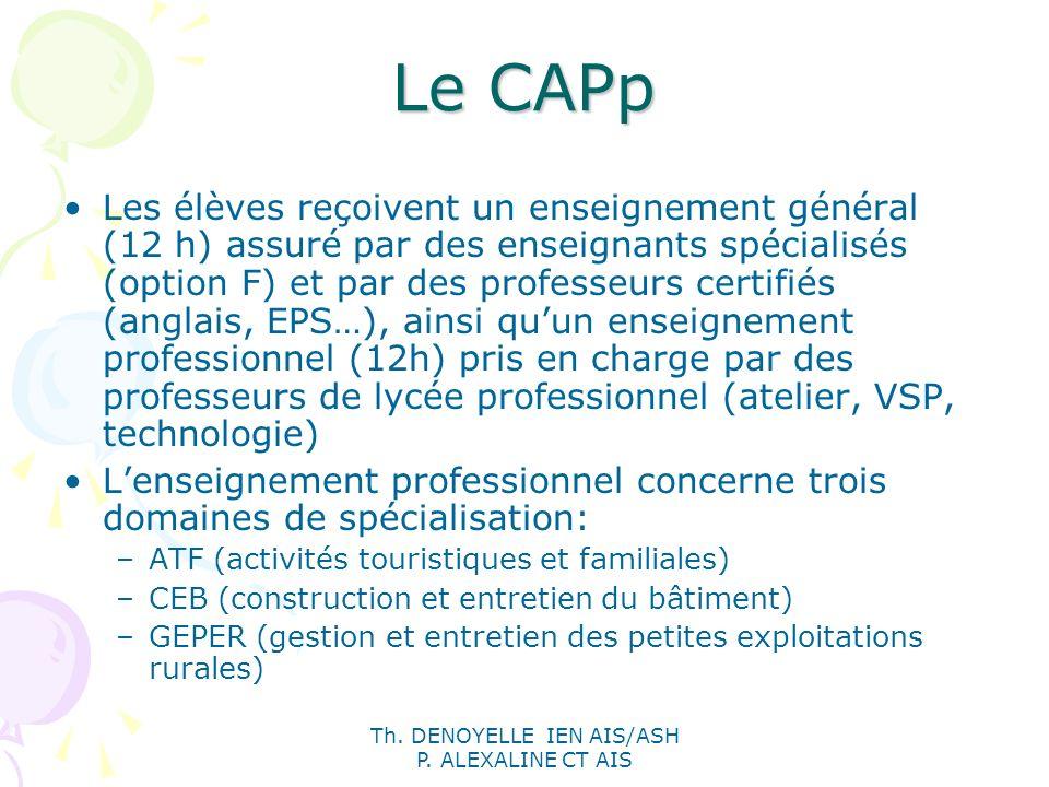 Th. DENOYELLE IEN AIS/ASH P. ALEXALINE CT AIS Le CAPp Les élèves reçoivent un enseignement général (12 h) assuré par des enseignants spécialisés (opti