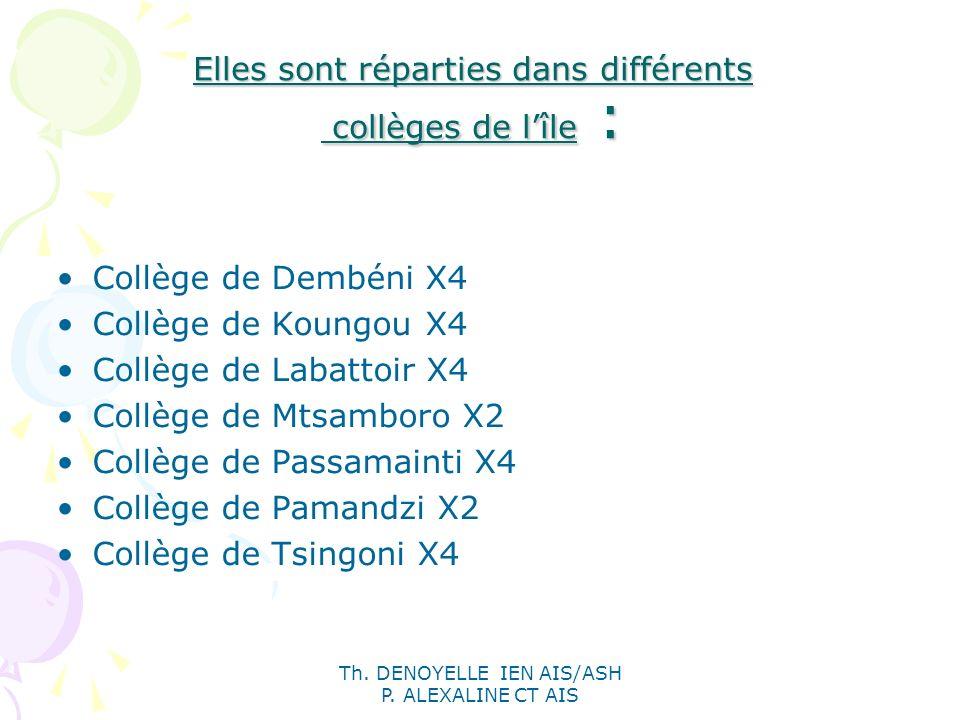 Th. DENOYELLE IEN AIS/ASH P. ALEXALINE CT AIS Elles sont réparties dans différents collèges de lîle : Collège de Dembéni X4 Collège de Koungou X4 Coll