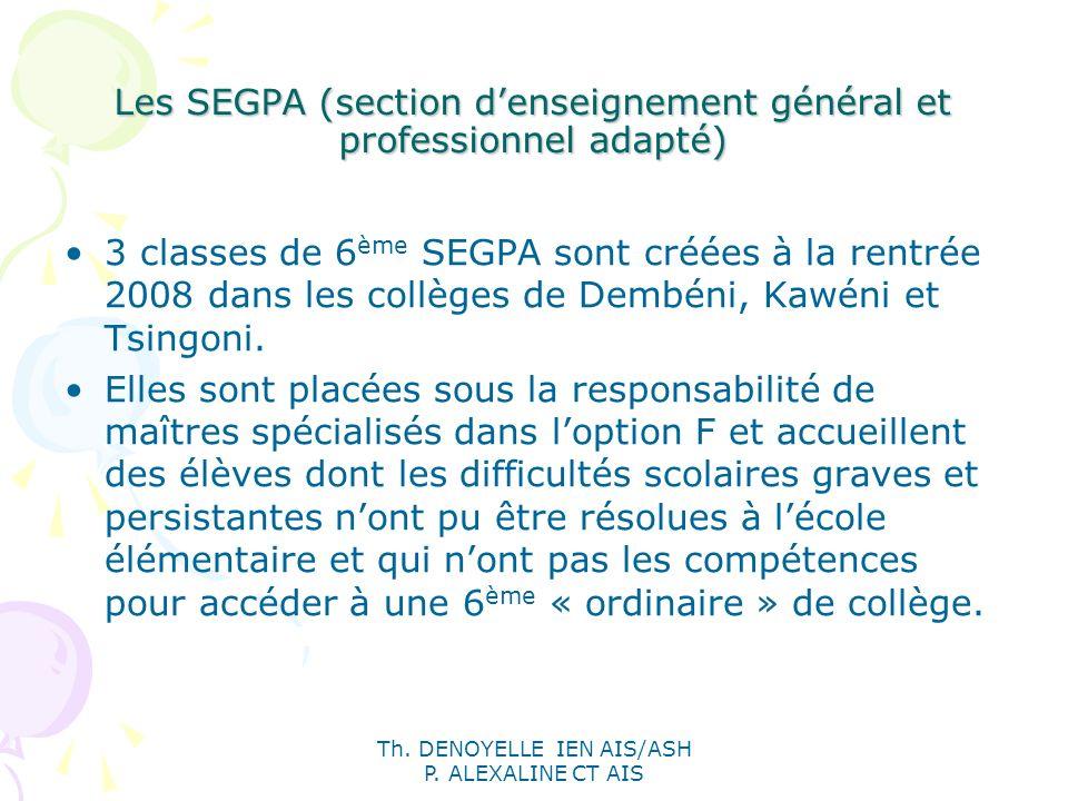 Th. DENOYELLE IEN AIS/ASH P. ALEXALINE CT AIS Les SEGPA (section denseignement général et professionnel adapté) 3 classes de 6 ème SEGPA sont créées à