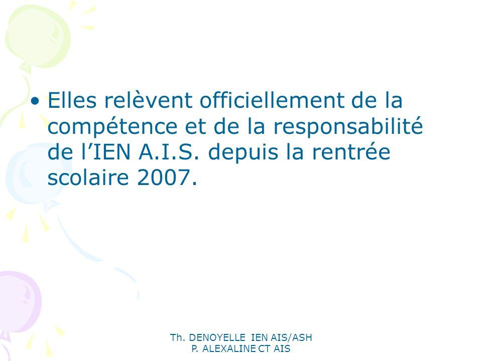 Th. DENOYELLE IEN AIS/ASH P. ALEXALINE CT AIS Elles relèvent officiellement de la compétence et de la responsabilité de lIEN A.I.S. depuis la rentrée