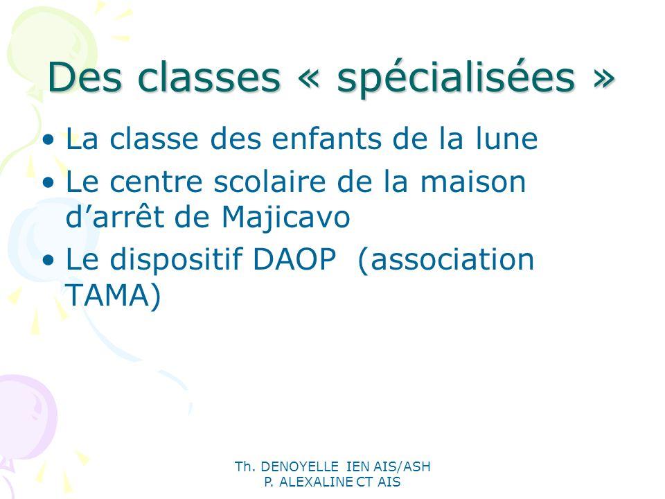Th. DENOYELLE IEN AIS/ASH P. ALEXALINE CT AIS Des classes « spécialisées » La classe des enfants de la lune Le centre scolaire de la maison darrêt de