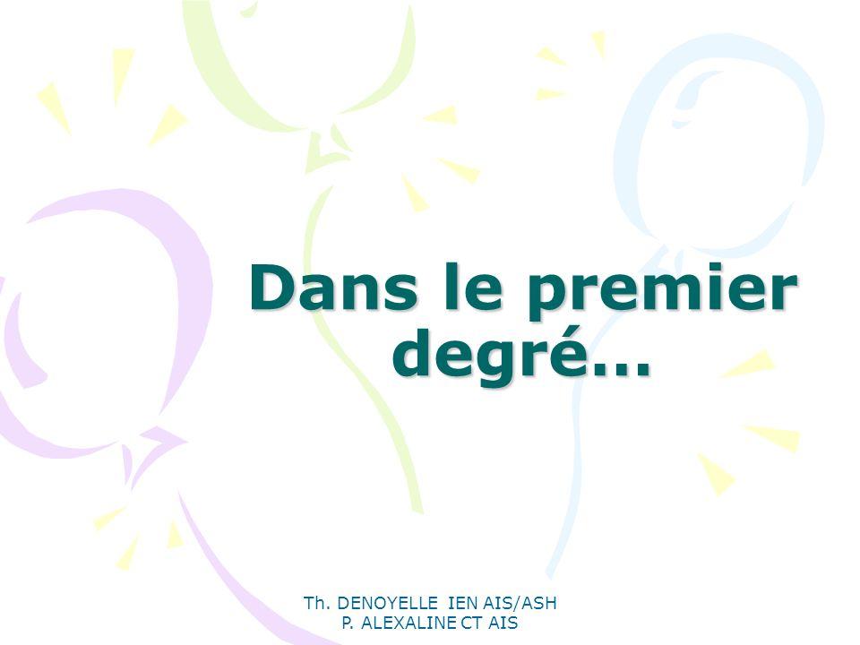 Th. DENOYELLE IEN AIS/ASH P. ALEXALINE CT AIS Dans le premier degré…