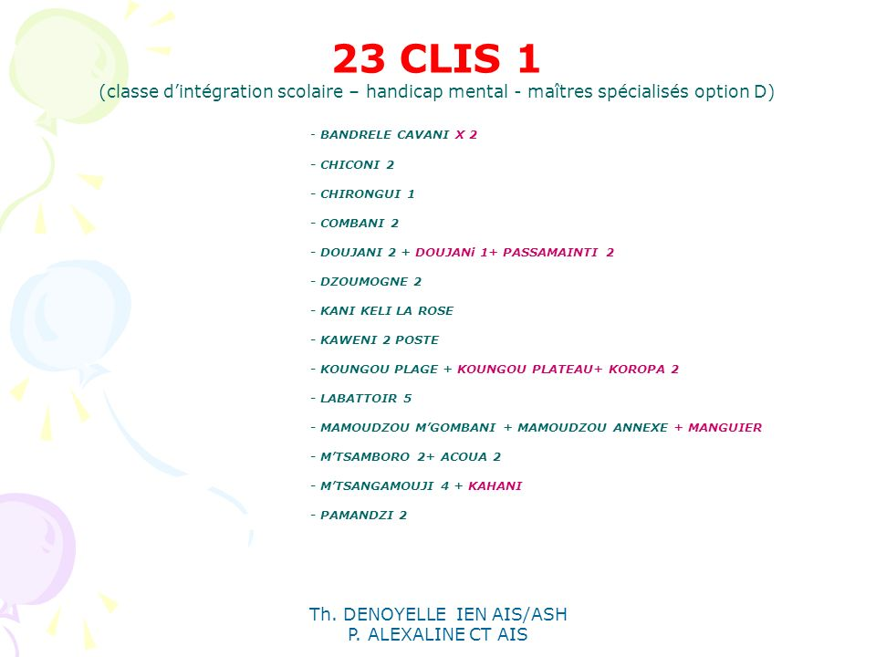 Th. DENOYELLE IEN AIS/ASH P. ALEXALINE CT AIS 23 CLIS 1 (classe dintégration scolaire – handicap mental - maîtres spécialisés option D) - BANDRELE CAV