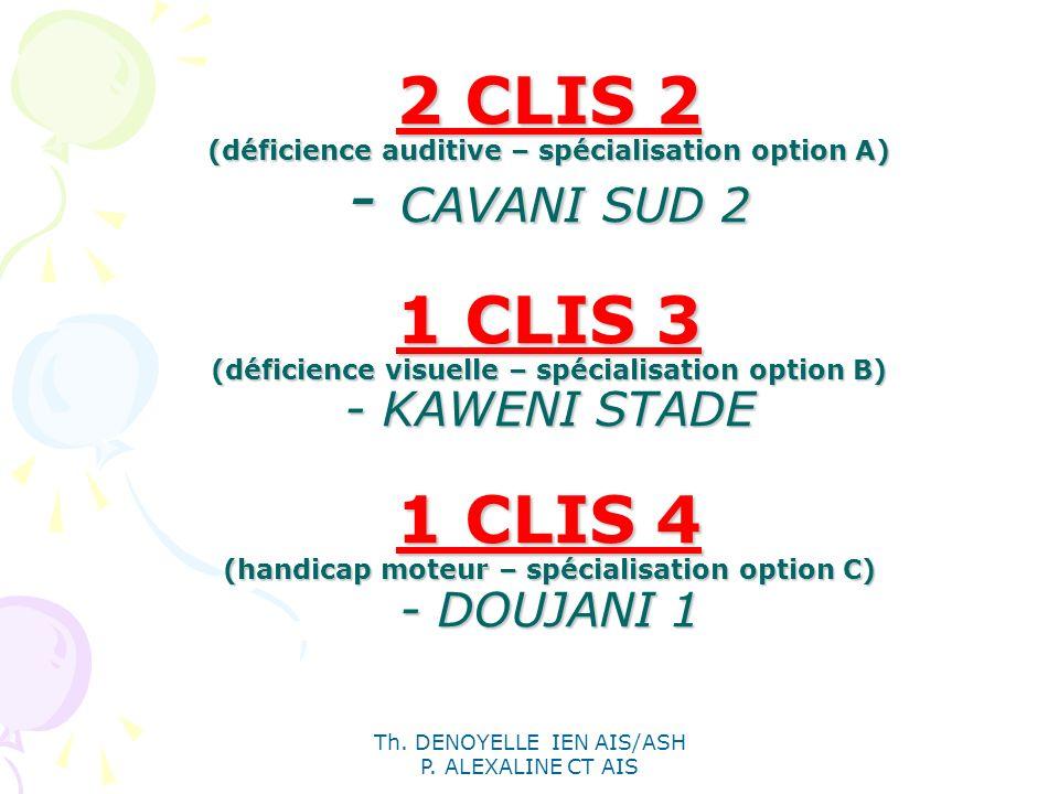 Th. DENOYELLE IEN AIS/ASH P. ALEXALINE CT AIS 2 CLIS 2 (déficience auditive – spécialisation option A) - CAVANI SUD 2 1 CLIS 3 (déficience visuelle –