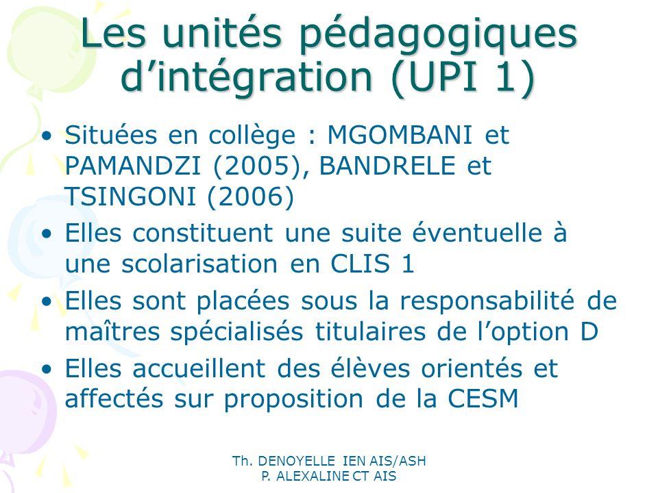 Th. DENOYELLE IEN AIS/ASH P. ALEXALINE CT AIS Les unités pédagogiques dintégration (UPI 1) Situées en collège : MGOMBANI et PAMANDZI (2005), BANDRELE