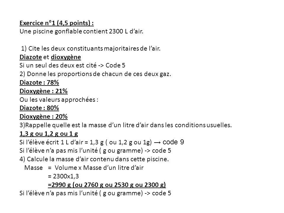 Exercice n°1 (4,5 points) : Une piscine gonflable contient 2300 L dair. 1) Cite les deux constituants majoritaires de lair. Diazote et dioxygène Si un
