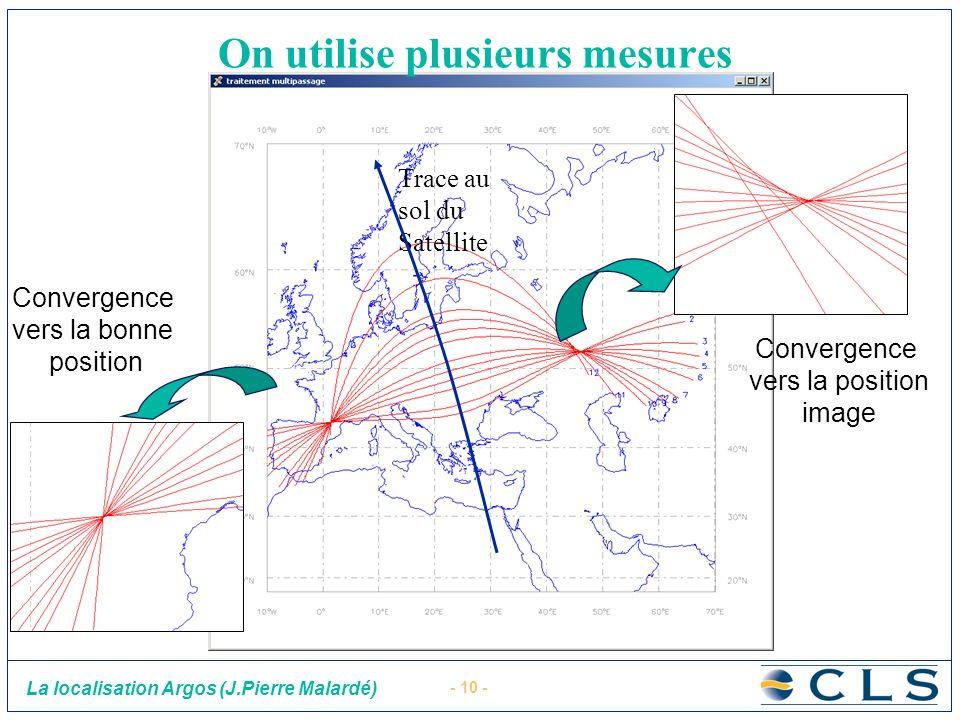 - 10 - La localisation Argos (J.Pierre Malardé) Trace au sol du Satellite Convergence vers la bonne position Convergence vers la position image On uti