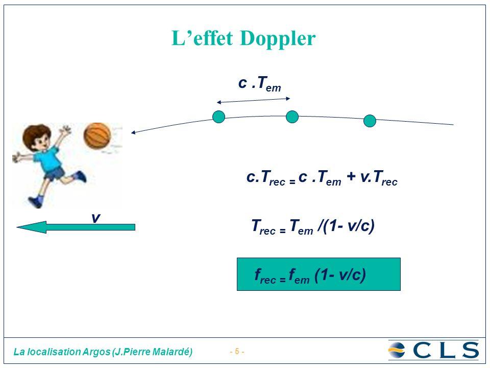 - 5 - La localisation Argos (J.Pierre Malardé) Leffet Doppler c.T rec = c.T em + v.T rec c.T em T rec = T em /(1- v/c) f rec = f em (1- v/c) v