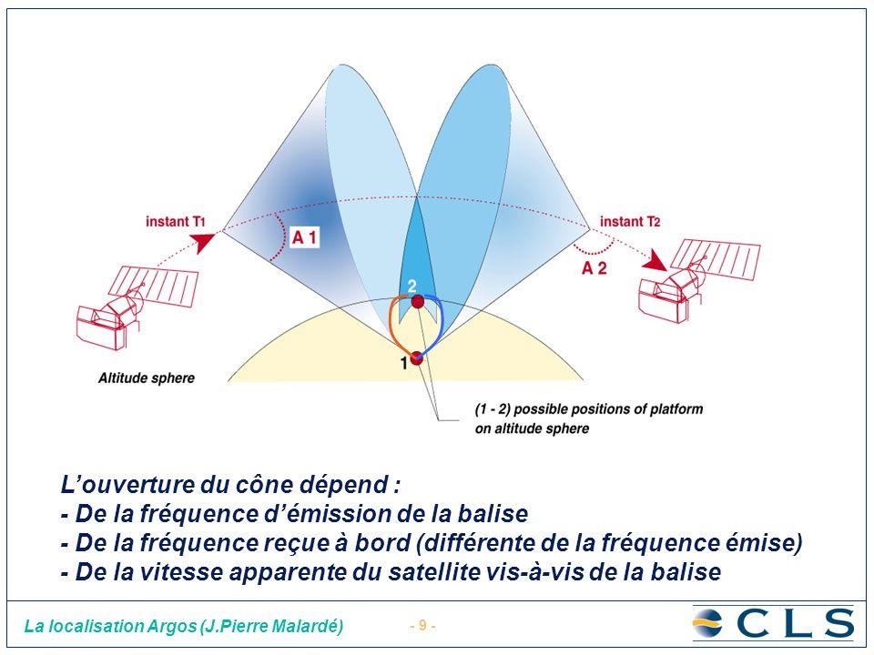 - 9 - La localisation Argos (J.Pierre Malardé) Le principe de positionnement Louverture du cône dépend : - De la fréquence démission de la balise - De