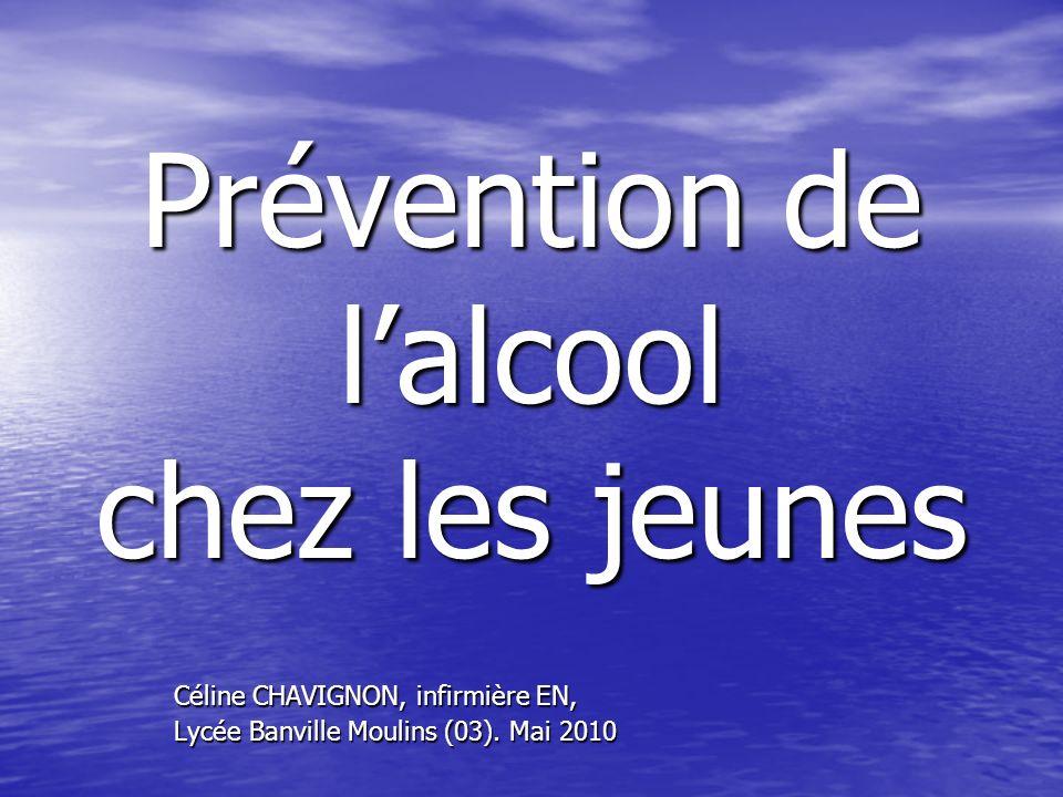 Prévention de lalcool chez les jeunes Céline CHAVIGNON, infirmière EN, Lycée Banville Moulins (03). Mai 2010