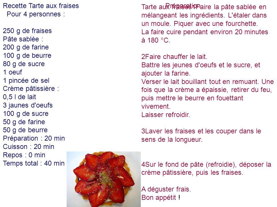 Recette Tarte aux fraises Pour 4 personnes : 250 g de fraises Pâte sablée : 200 g de farine 100 g de beurre 80 g de sucre 1 oeuf 1 pincée de sel Crème