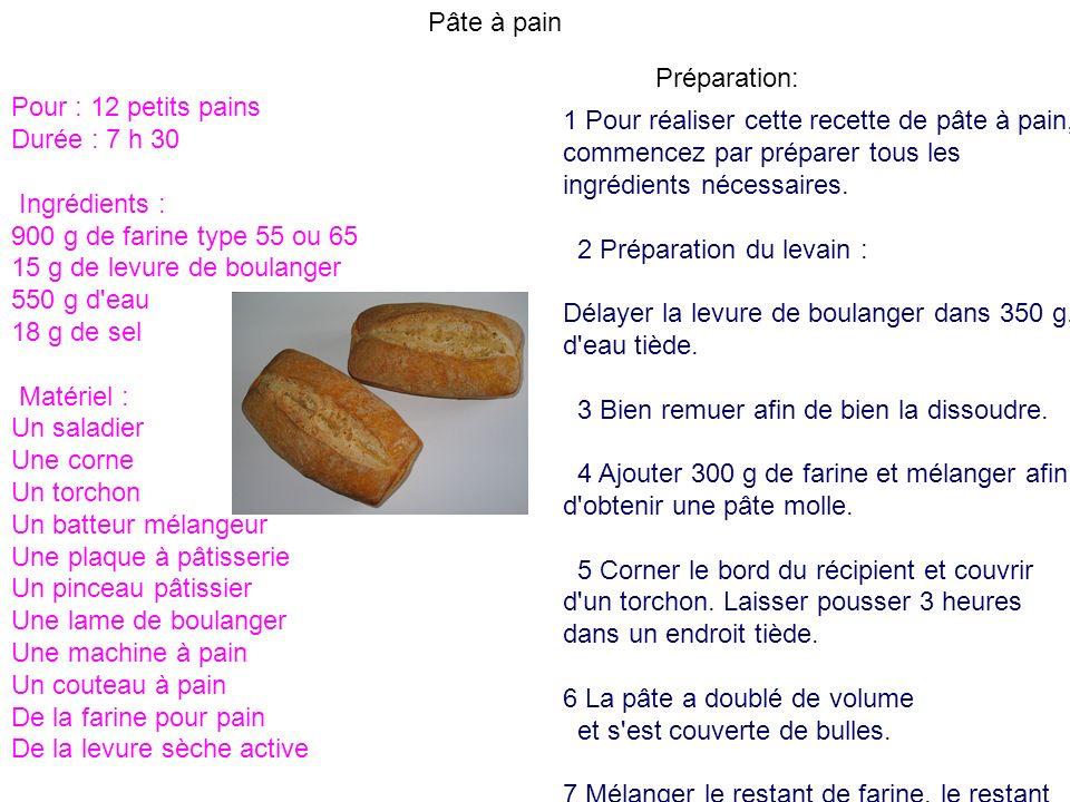 Pâte à pain Pour : 12 petits pains Durée : 7 h 30 Ingrédients : 900 g de farine type 55 ou 65 15 g de levure de boulanger 550 g d'eau 18 g de sel Maté