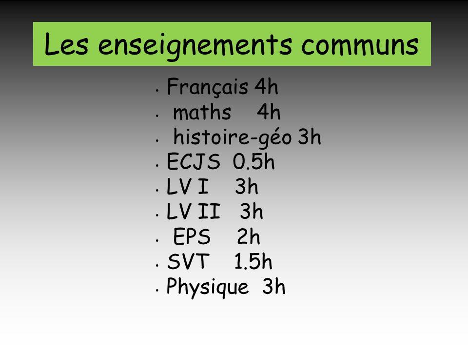 Français 4h maths 4h histoire-géo 3h ECJS 0.5h LV I 3h LV II 3h EPS 2h SVT 1.5h Physique 3h Les enseignements communs