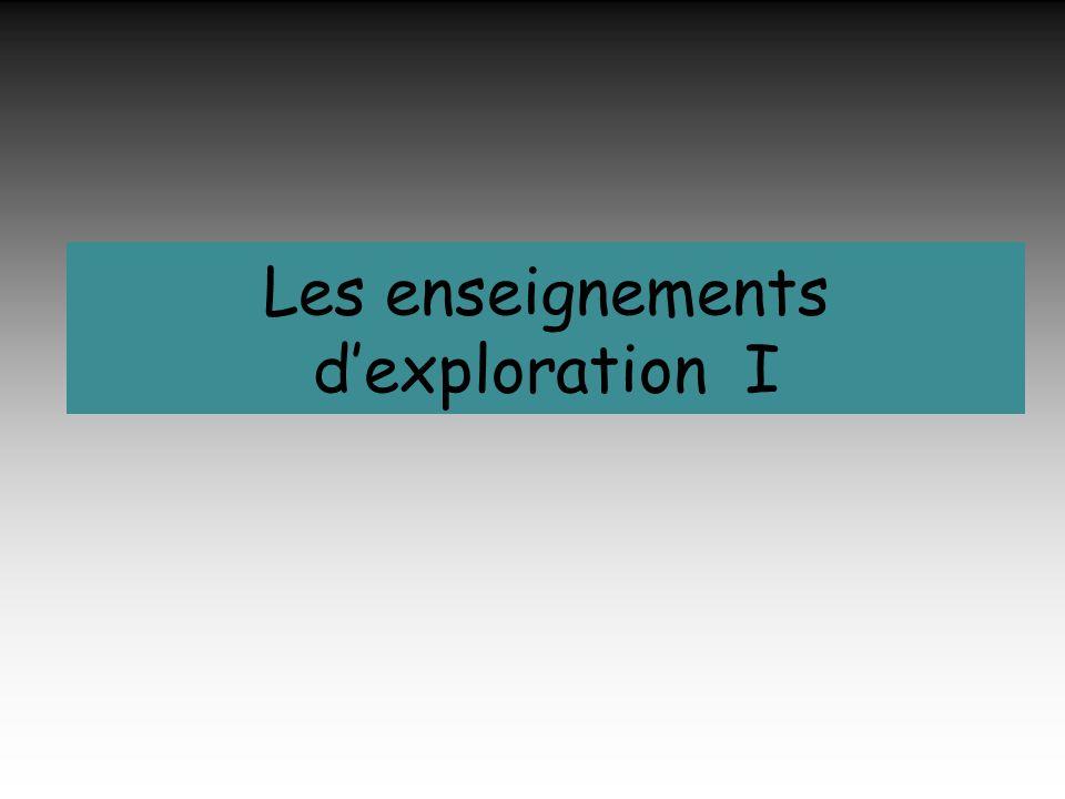Les enseignements dexploration I