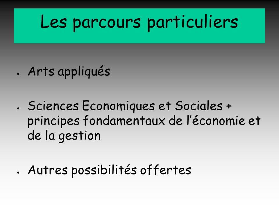 Les parcours particuliers Arts appliqués Sciences Economiques et Sociales + principes fondamentaux de léconomie et de la gestion Autres possibilités o