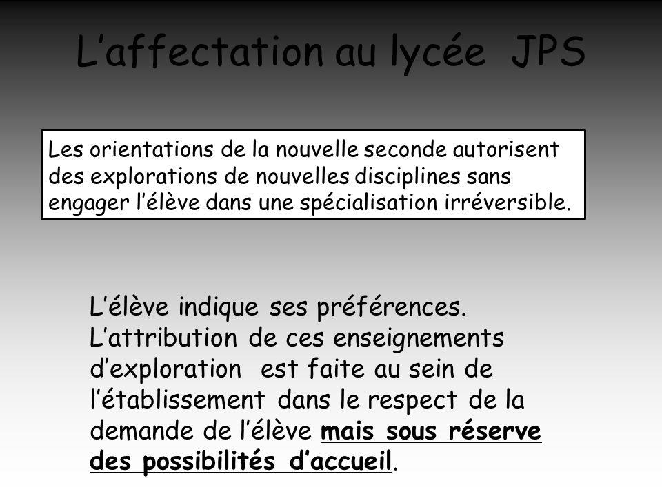 Laffectation au lycée JPS Les orientations de la nouvelle seconde autorisent des explorations de nouvelles disciplines sans engager lélève dans une sp