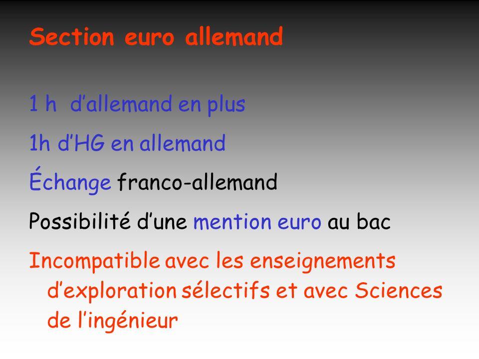 Section euro anglais (1) 1 h danglais en plus 1 h de Sciences physiques en anglais Possibilité dune mention euro au bac Possibilité dun voyage culturel Incompatible avec les enseignements dexploration sélectifs et avec sciences de lingénieur
