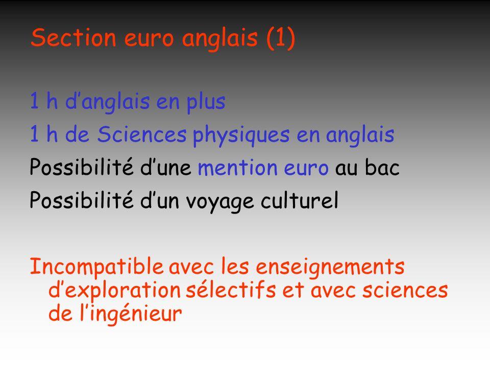 Section euro anglais (1) 1 h danglais en plus 1 h de Sciences physiques en anglais Possibilité dune mention euro au bac Possibilité dun voyage culture