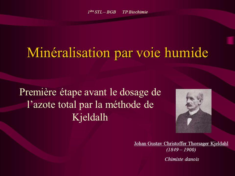 Minéralisation par voie humide Première étape avant le dosage de lazote total par la méthode de Kjeldalh 1 ère STL – BGB TP Biochimie Johan Gustav Chr