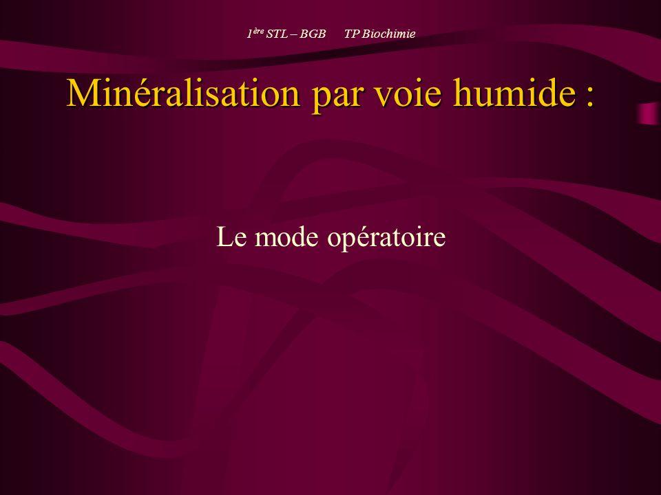 Minéralisation par voie humide : Le mode opératoire 1 ère STL – BGB TP Biochimie