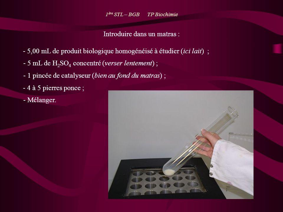 Introduire dans un matras : - 5,00 mL de produit biologique homogénéisé à étudier (ici lait) ; - 5 mL de H 2 SO 4 concentré (verser lentement) ; - 1 p