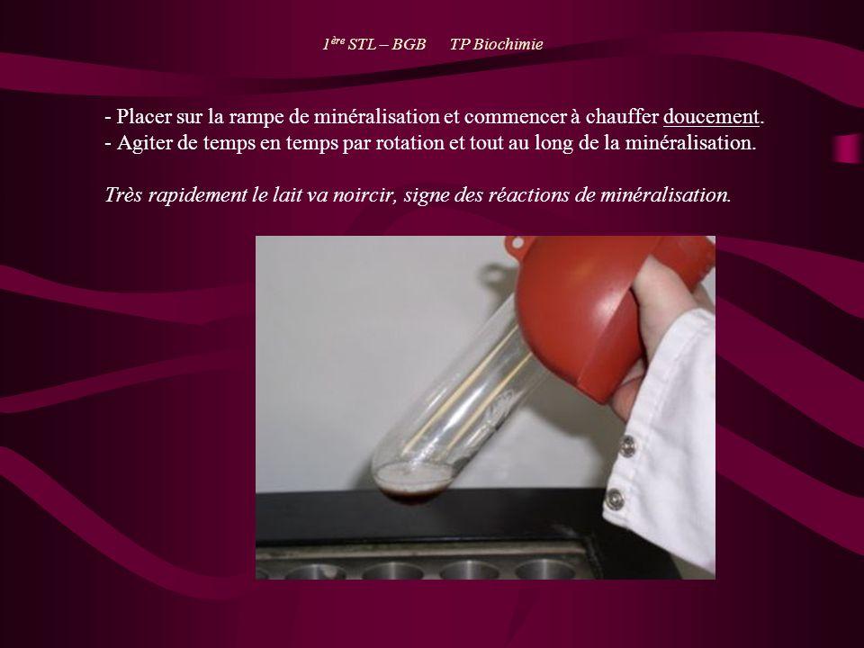 1 ère STL – BGB TP Biochimie - Placer sur la rampe de minéralisation et commencer à chauffer doucement. - Agiter de temps en temps par rotation et tou