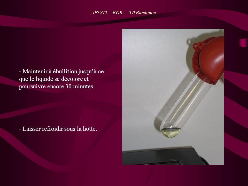 1 ère STL – BGB TP Biochimie - Maintenir à ébullition jusquà ce que le liquide se décolore et poursuivre encore 30 minutes. - Laisser refroidir sous l