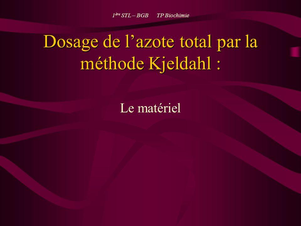 Dosage de lazote total par la méthode Kjeldahl : Le matériel 1 ère STL – BGB TP Biochimie