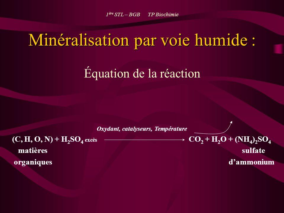 Minéralisation par voie humide : Équation de la réaction 1 ère STL – BGB TP Biochimie Oxydant, catalyseurs, Température (C, H, O, N) + H 2 SO 4 excès