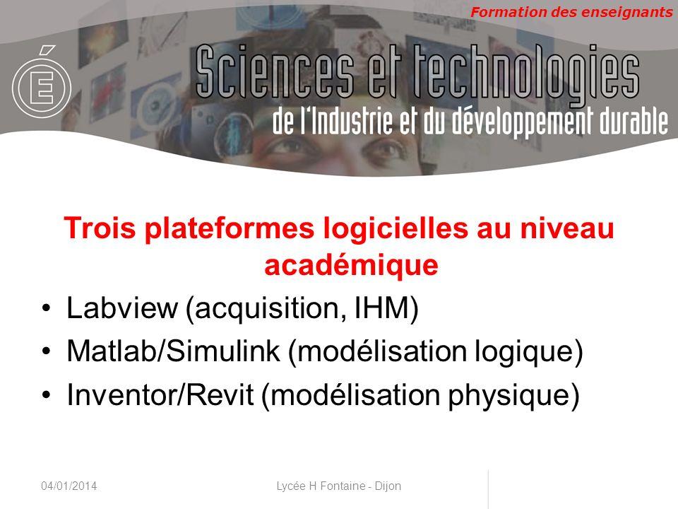 Formation des enseignants CNAM, 22 & 23 novembre 2010 Trois plateformes logicielles au niveau académique Labview (acquisition, IHM) Matlab/Simulink (m