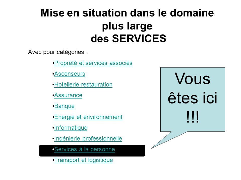 Vous êtes ici !!! Mise en situation dans le domaine plus large des SERVICES Avec pour catégories : Propreté et services associés Ascenseurs Hotellerie