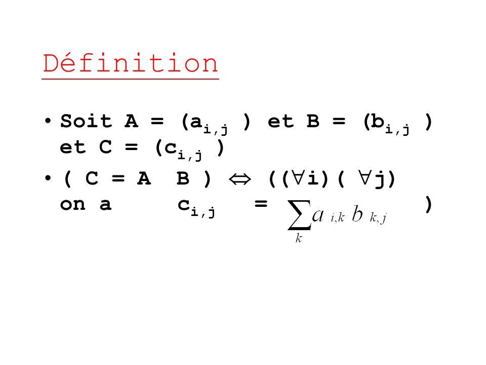 Définition Soit A = (a i,j ) et B = (b i,j ) et C = (c i,j ) ( C = A B ) (( i)( j) on a c i,j = )