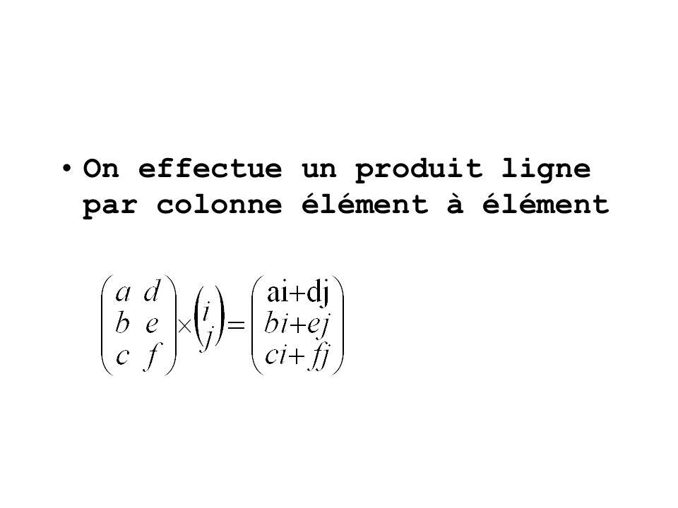 On effectue un produit ligne par colonne élément à élément